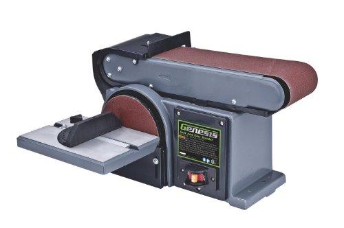"Genesis GBDS450 4.5 Amp 4"" x 36"" Belt/Disc Sander with Die-Cast Aluminum Tilting Table, Miter Gauge, Quick-Release Belt, and Cast Iron Base"