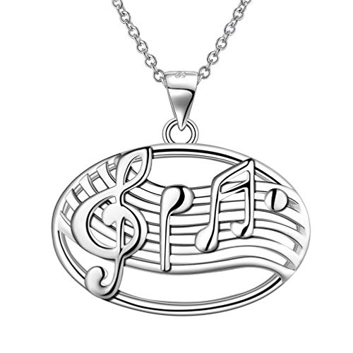 Jewmon Musik Noten Anhänger Halskette Sterling Silber Höhenschlüssel Anhänger Oval Form Musik Note Schmuck Musikschule Klavier Gitarre Violinschlüssel Musiknoten Geschenk für Damen FP0029W