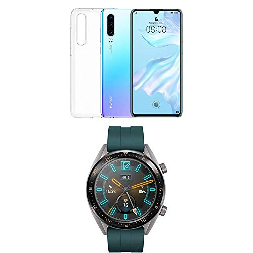Huawei P30 (Breathing Crystal) più cover trasparente + Huawei Watch GT Active Smartwatch, Verde Scuro