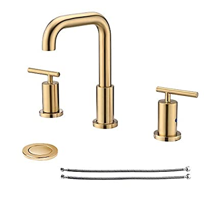 NEWATER 2-Handle 8 inch Widespread Three Hole Bathroom Sink Faucet with Pop Up Drain & Supply Lines Basin Faucet Mixer Tap ,Brushed Gold(CWF030B-BG)