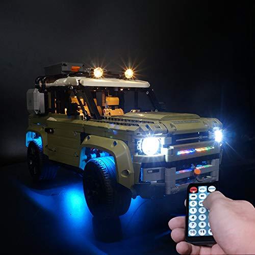 SIROD Kyglaring LED-Beleuchtungsset für Lego Land Rover Defender 42110 mit Ferngesteuerter Beleuchtung Bausteine Bausteine für Lego 42110 Baukasten (Modell 42110 Nicht im Lieferumfang enthalten)