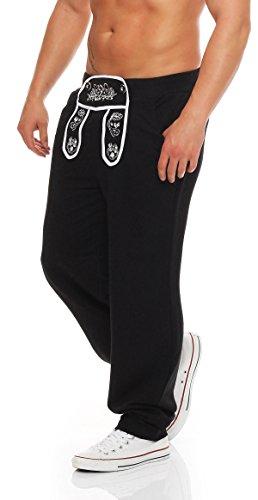 Hoppe Gennadi Herren Sporthose im Trachtenlook (S, schwarz)