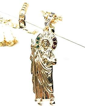 Saint Jude Pendant Necklace Figaro 26  San Judas Tadeo gold Size No Size