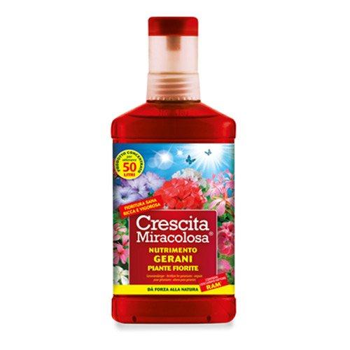 Crescita Miracolosa NUTRIMENTO GERANI E Piante Fiorite, 375 ml, Rosso, 8.5x4.5x20.5 cm