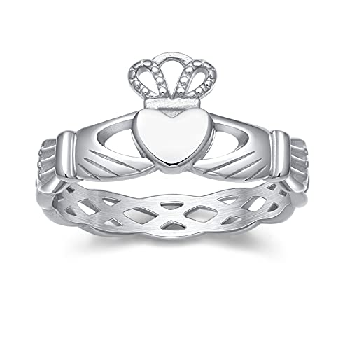 Greenpod Stainless Steel Rings for Women Girls Silver Irish Claddagh Rings Love Heart Celtic Knot Crown Wedding Band Size 7