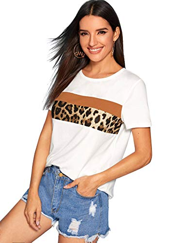 Floerns Women's Casual Summer Printed Short Sleeve Shirts Color Block Blouses Tshirts Top White Multi M