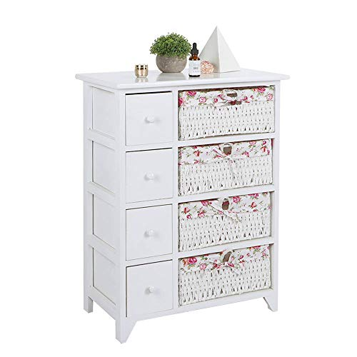 Carsparadisezone White 4-Layer Cabinet Drawer Chest with Floral Wicker Baskets, Cabinet Rack Storage Unit, Storage Shelf Chest of Drawers for Bedroom Hallway Bathroom Living Room【UK STOCK】