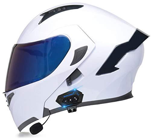 Doble Visera Casco Moto Modular,Profesional Anti Niebla Protección UV Casco Protector de Color Motocross Clásico Mujer Hombre Adultos Certificación Dot/ECE Casco F,M