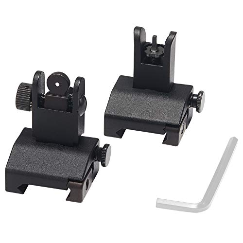 Pinty Flip Up Mil Spec Iron Sights Front and Rear Sight Mounts Set, Design for 20mm Picatinny Rail Mount and 45 Degree Offset Rail Mount