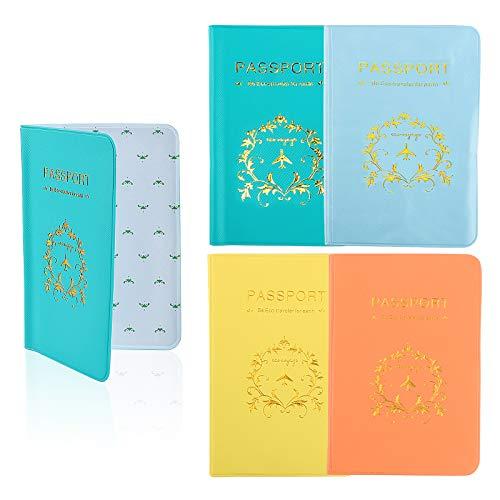4pcs Funda de Pasaporte Cubierta de Pasaporte (9.3X 13.5cm) Protector Pasaporte PVC Cartera de Pasaporte de Viajes Porta Pasaportes 4 Colores Mixtos Pack para Familia