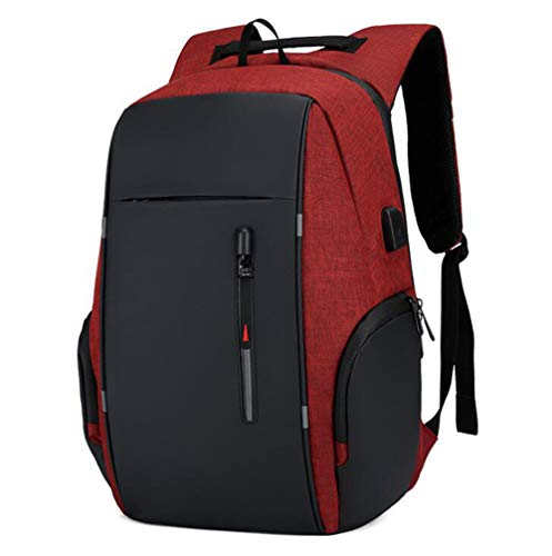 DKZ Business Laptop Backpack,Water-Resistant Slim Backpack Fit 15.6 Inch Laptop Computer with USB Charging Port,for Business/Travel/College,Red