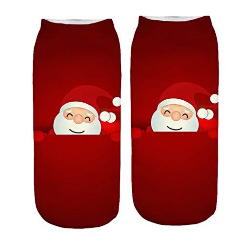 Christmas Women's Cute Ankle Socks,Girl Stylish Comfortable, Lightweight Christmas Santa Holiday Socks Warm Winter (D)