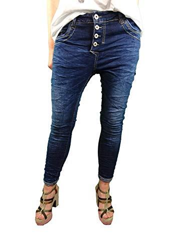 Jewelly Stretch Jeans| im Baggy Boyfriend Schnitt| Damen Hose mit dekorativer Knopfleiste| Perfekter Sitz Deeper Blue S