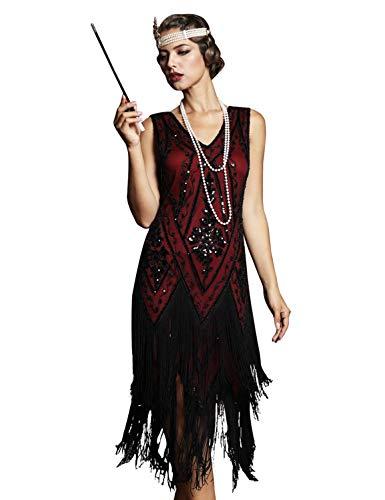 PrettyGuide Women's 1920s Flapper Dress Vintage Swing Fringed Party Roaring 20s Dress Burgundy S