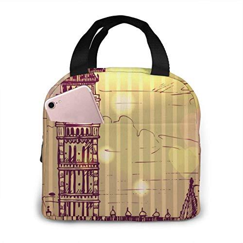 Bolsa de almuerzo con aislamiento porttil Big Ben London de la serie de referencia mundialmente famosa, bolsa de almuerzo reutilizable para hombres y mujeres, enfriador Ba