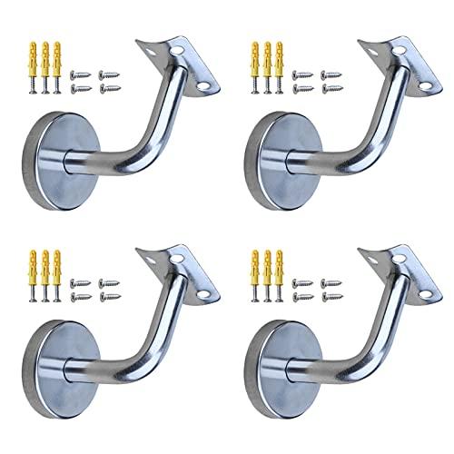 Mlysnd Supporto Corrimano, 4 Pezzi Staffa Corrimano Corrimano Con Viti Per Ringhiere In Legno o Metallo, Acciaio Inossidabile (60 * 60 mm)