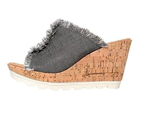 Minnetonka Femmes Sandales Compensées Couleur Gris Grey Linen Taille 39 EU / 8 U