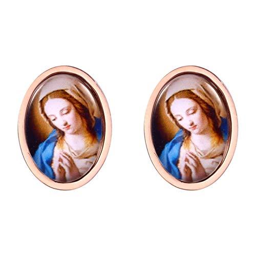 AnazoZ Pendientes Mujer Acero Inoxidable Pendientes Virgen María Oval Pendientes Aro Oro Rosa