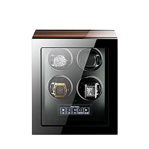 XYSQ Caja Giratorias para Relojes Automaticos Watch Winder 4+0 con Motor Silencioso Y Luz Control Remoto Pantalla Táctil LCD