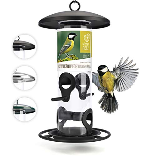 wildtier herz I Körner Vogelfutterspender 26cm - 5 Jahre Garantie – aus rostfreiem Metall, Vogel Futterstation, Futtersäule, Wildvögel Futtersilo, Schwarz