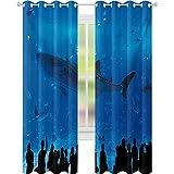 Cortinas de tratamientos de ventana, parque de acuarios japoneses con siluetas de personas, imagen de afición subacuática, 52 x 84 cortinas para sala de estar, dormitorio, azul negro