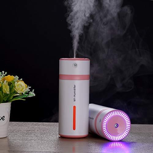WARM home Casa Umidificatore Portatile a Forma di Bottiglia Portatile Ricaricabile 2W USB con Luce LED, capacità: 240 ml, DC 5V, atomizzatore purificatore d\'Aria, Auto/casa. Donare (Colore : Rosa)