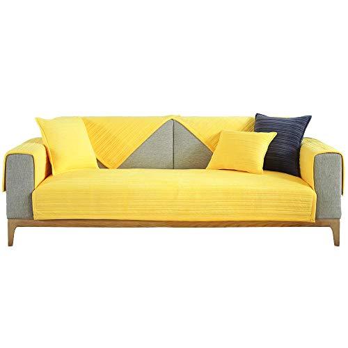YUTJK Funda se Puede Empalmar de Sofá Funda para sofá Antideslizante Protector Cubierta de Muebles,Funda de sofá de Terciopelo Suave y cálido,para sofá de Tela,Amarillo