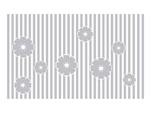 GrazDesign raamtattoo strepen met bloemen, raamfolie voor badkamer, glastattoo voor douche