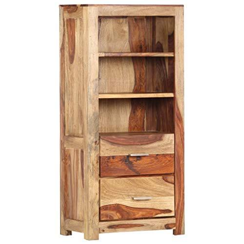 vidaXL Sheesham-Holz Massiv Highboard mit 2 Schubladen 3 Fächern Bücherregal Kommode Schrank Anrichte Standregal Sideboard 50x30x108cm