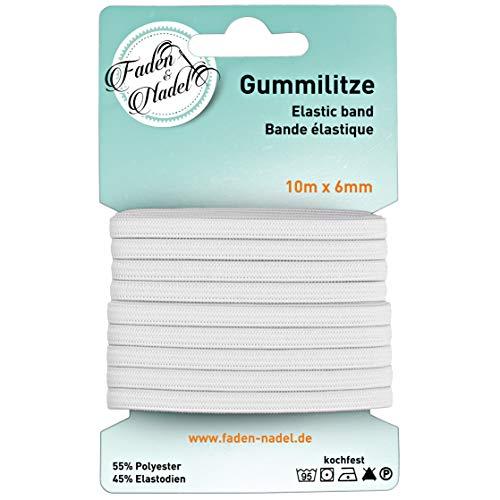 Faden & Nadel 10 m Gummilitze : 6 mm elastisches Gummiband in weiß, Kochfest u. bügelbar
