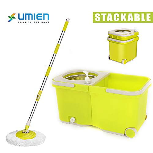 UMIEN Spin Mop and Bucket Sytem – 360° Self Wringing Spinning Mop with Stackable Bucket On Wheels and 2 Machine Washable Microfiber Mop Heads – Easy To Use and Store