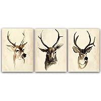 キャンバスにプリントトリプティック北欧抽象芸術エルクキャンバス絵画ジクレー動物アートプリント絵画ポスターキャンバスアート60x90cmx3フレームなし