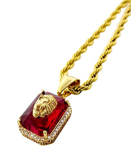Exo Jewel Lion Ruby CZ Diamond Octagon Pendant Necklace with 24 Inch Stainless Steel Rope Chain (Gold)