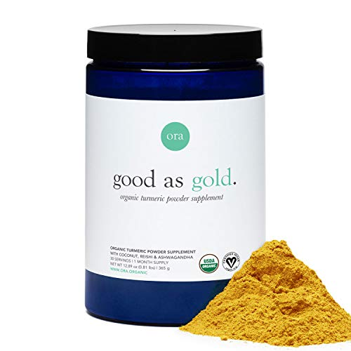 Ora Organic Golden Milk Powder - Ayurvedic Turmeric Latte with Organic Adaptogens - Ashwagandha, Reishi and Ginger - Organic, Gluten-Free, Soy-Free, Vegan, Non-GMO - 7 Servings (1 Week Supply)