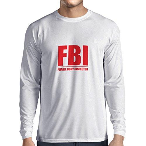 Camiseta de Manga Larga para Hombre Inspector del Cuerpo Femenino - Regalos Divertidos para los Hombres, Citas chistosas (Large Blanco Rojo)