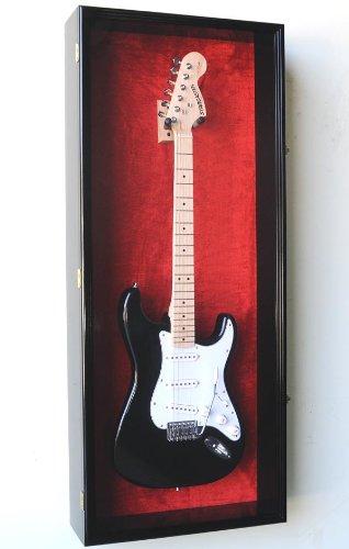 Guitar Fender Display Case Cabinet Wall Rack w/UV Protection- Lockable -Black