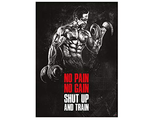GREAT ART Motivationsposter 59,4 x 42 cm – Poster Format A2 Wandposter Fitnessposter für Fitnesstudio oder Trainingsraum Motivational Quotes – no Pain no gain Shut up and Train – Nr.8