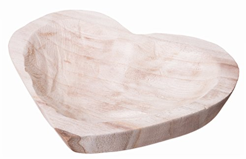 Lovely Decorative Heart Shaped Bowl, Hand Crafted All Natural Paulownia Wood, Medium Sized, 9-inch
