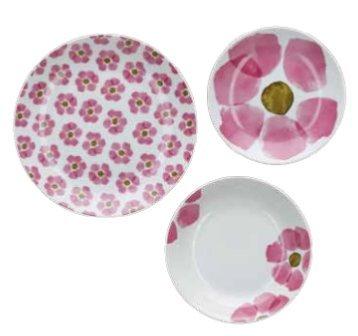 Rose&Tulipani Service d'assiettes 18 pièces Gallipoli composé de 6 assiettes plates + 6 assiettes creuses + 6 assiettes à dessert en porcelaine