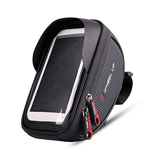 ZQEU Bolsa para marco de bicicleta, super impermeable, bolsa de bicicleta de gran capacidad, resistente a la presión, bolsa de manillar de TPU, pantalla táctil con visera solar y cubierta de lluvia, apto para smartphones de menos de 6 pulgadas, Negro y rojo