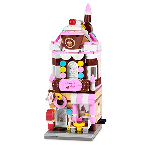 Henoda Building Blocks Toys for 8-12 Years Old Girls, 344pcs Dream Dessert House Building Street-View Kits, Construction Educational STEM Toys for Kids, Girls Gifts for Age 7-12 Years Old