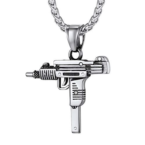 Richsteel Colgante Hombre Uzi Collar Pistola Uzi Hip Hop Rock