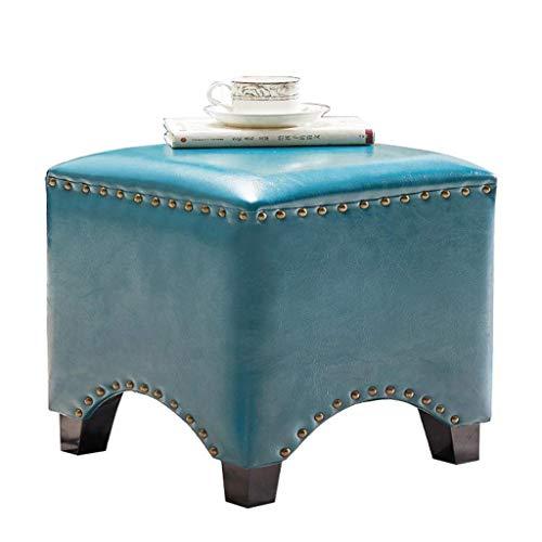 Yxsd - Sgabelli per scarpe in legno, poggiapiedi ottomano, poggiapiedi con rivestimento in pelle cerata color petrolio (colore: blu navy, dimensioni: 35 x 35 x 40 cm)