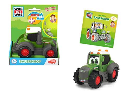 Dickie Toys 203812008 Was ist Was-Bauernhof, Fendt Traktor mit Freilauf, inkl. Was ist Was Buch, farbecht und speichelfest, Spielzeug ab 1 Jahr, Bauernhof Spielzeug, 14,5 cm, grün