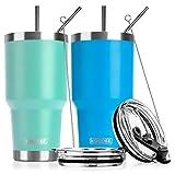Koodee 30 oz Stainless Steel Tumbler Insulated Coffee Travel Mug with 4 Straws,...