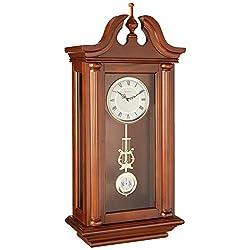 Bulova C4456 Manchester Wall Clock, Walnut Brown