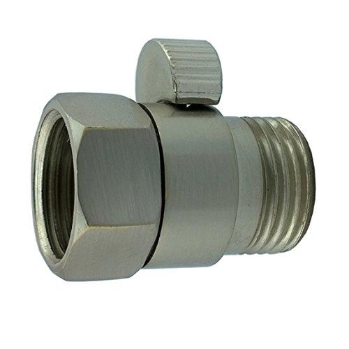 Aquafaucet S-002 Shower Head Shut Off Valve Solid Brass Shower Flow Control Valves Parts, Brushed Nickel
