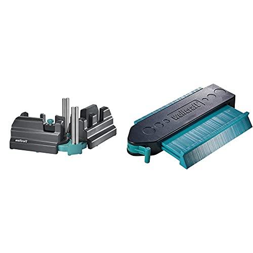 Wolfcraft 6948200 - Caja ingletadora y falsa escuadra 2 en 1 + 6949000 - Medidor de contornos para suelo