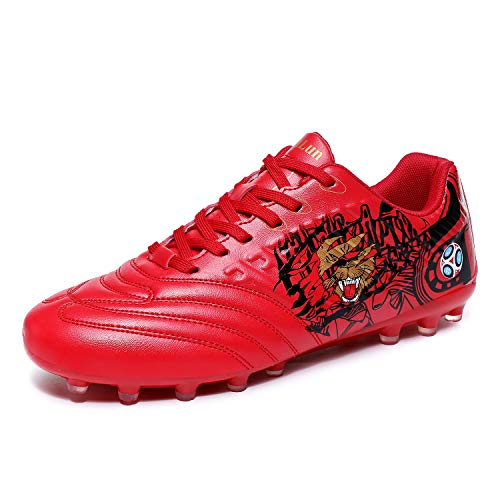 Lynxmko Men's Cleats Soccer Shoes Athletic Lightweight Running Outdoor Turf Comfortable Training Football Shoes Red