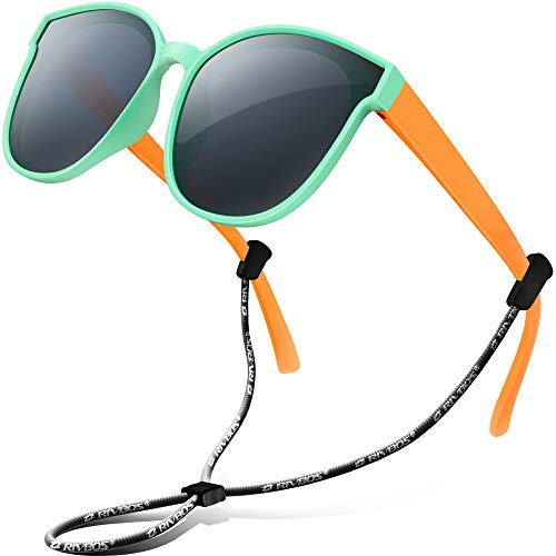 RIVBOS Kids Sunglasses for Girls Boys with Strap